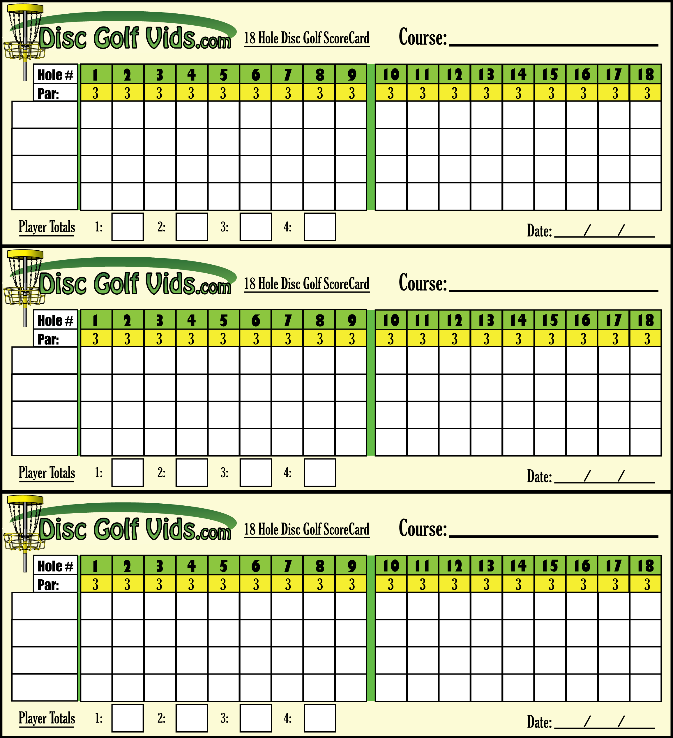 photograph relating to Disc Golf Scorecard Printable referred to as Disc Golfing ScoreCards!