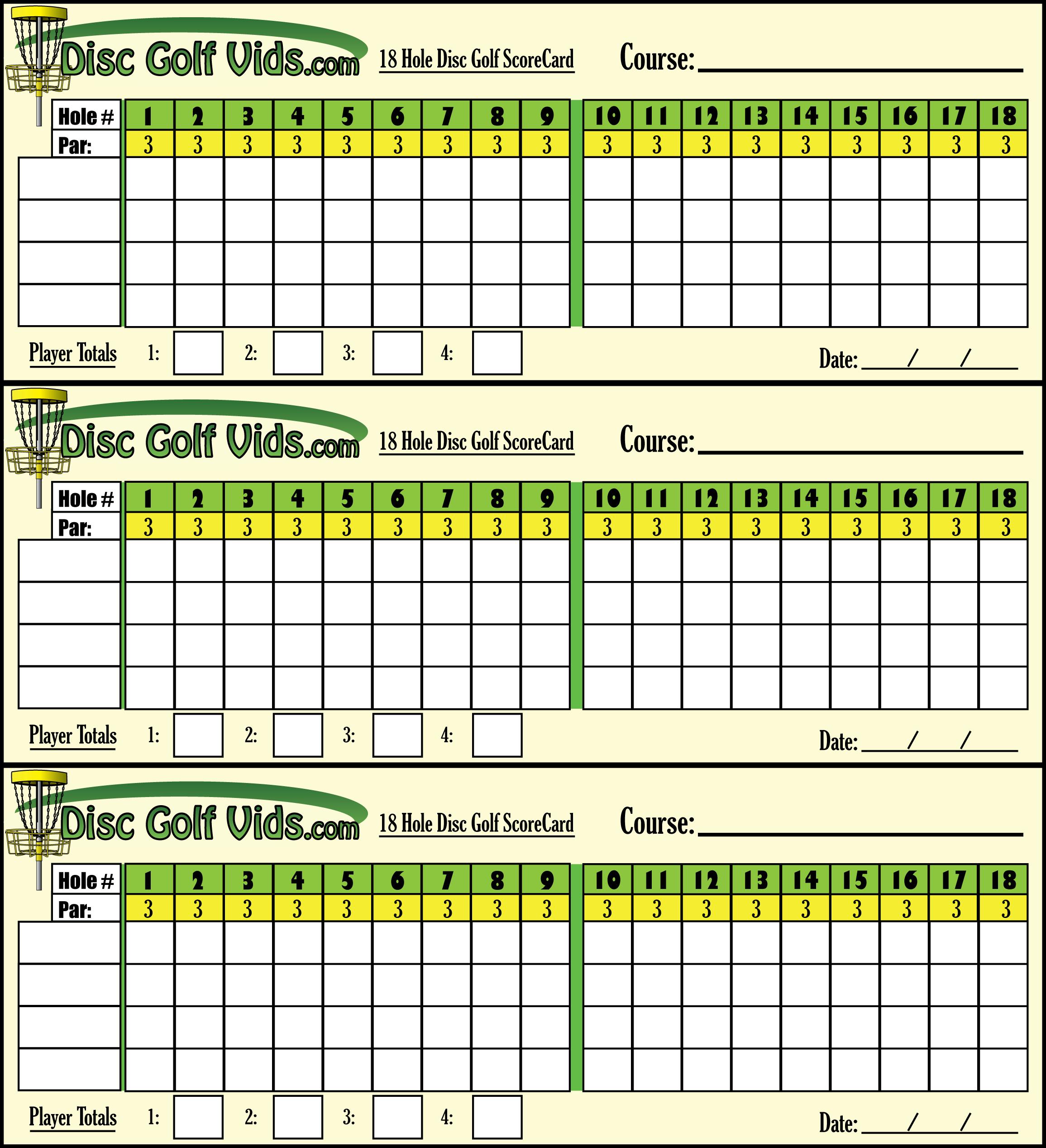 photo about Disc Golf Scorecard Printable referred to as Disc Golfing ScoreCards!